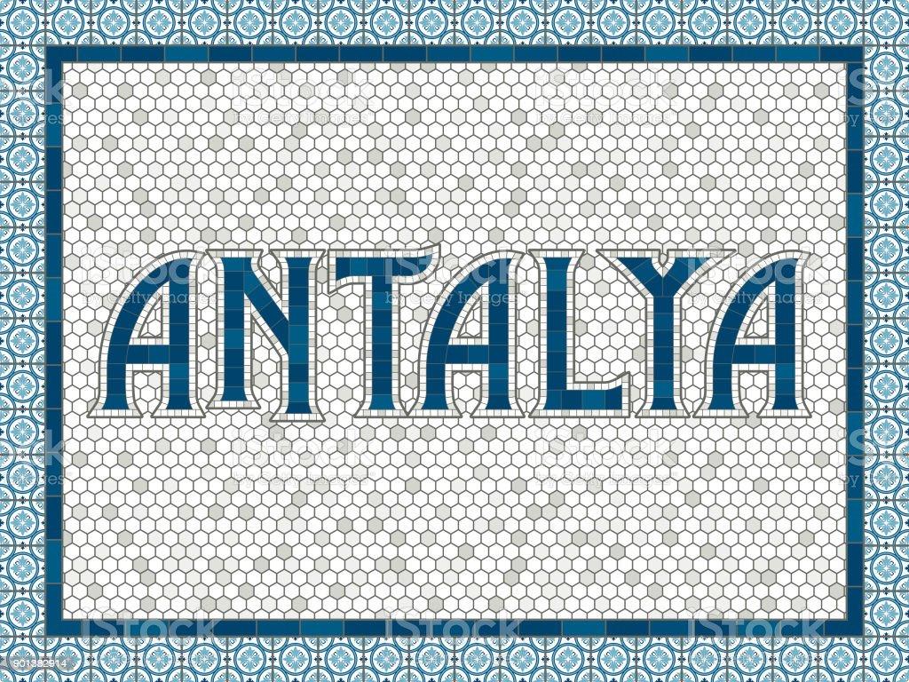 Antalya eski moda Mozaik çini tipografi vektör sanat illüstrasyonu