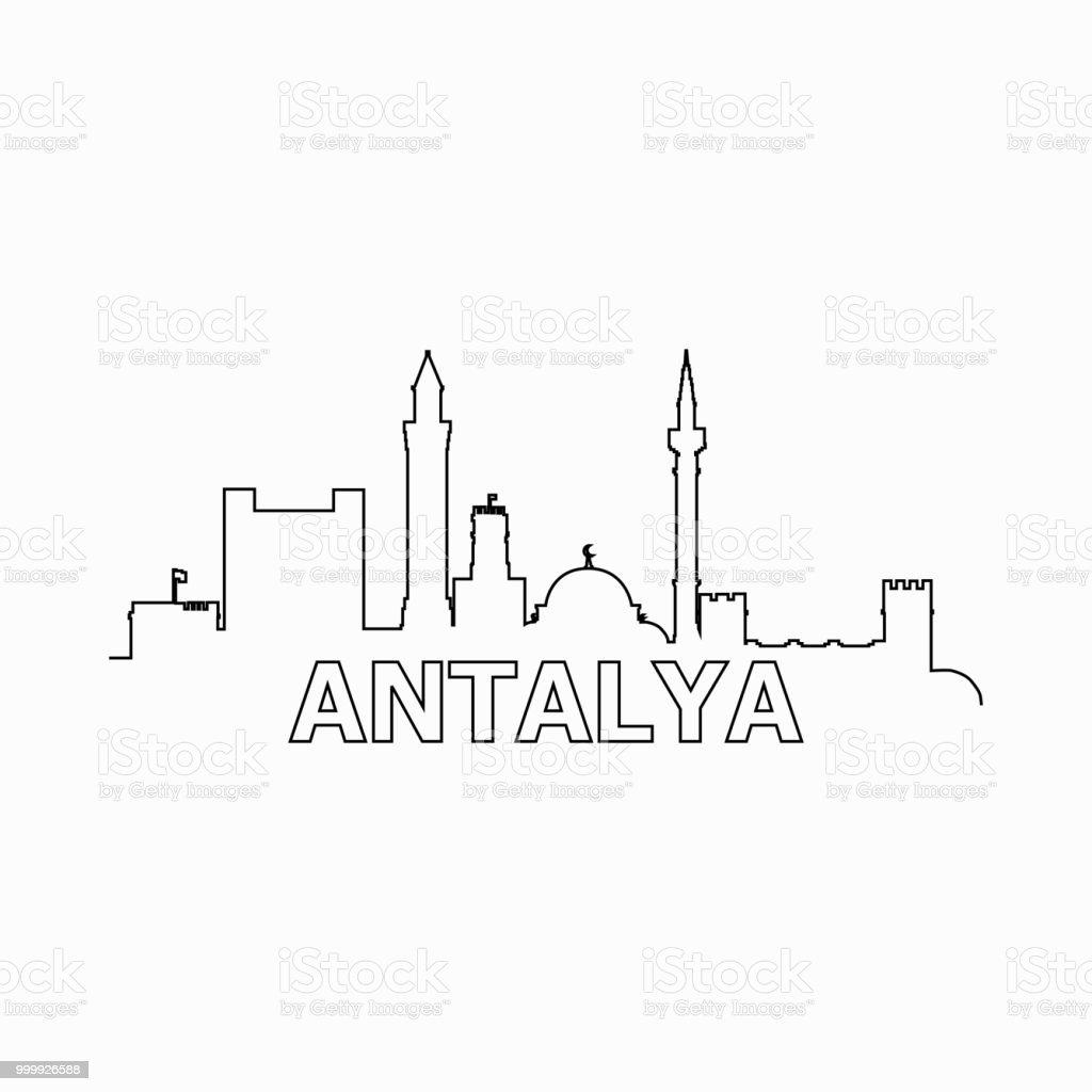 Antalya manzarası ve Simgesel siluet siyah vektör simgesi. Antalya panorama. Türkiye vektör sanat illüstrasyonu
