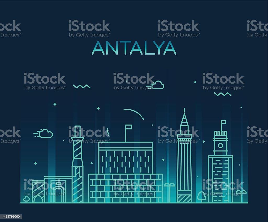 Antalya skyline vector illustration linear style vektör sanat illüstrasyonu