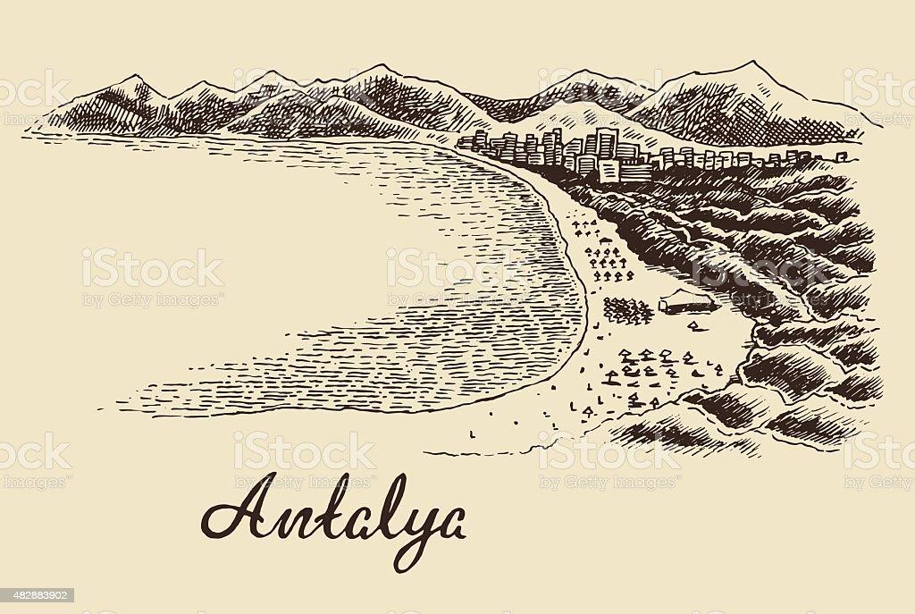 Antalya skyline vintage engraved vector hand drawn vektör sanat illüstrasyonu