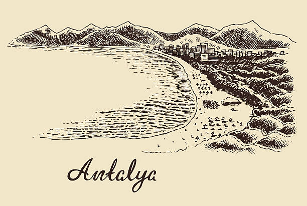 antalya skyline von vektor hand drawn vintage gravur - alanya stock-grafiken, -clipart, -cartoons und -symbole