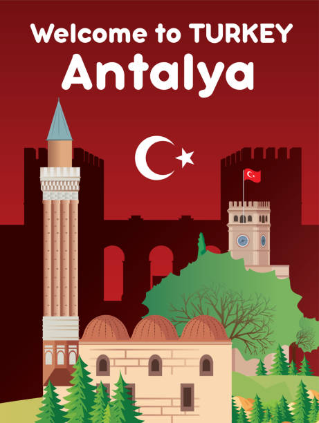 antalya reisen und yivliminare moschee - alanya stock-grafiken, -clipart, -cartoons und -symbole