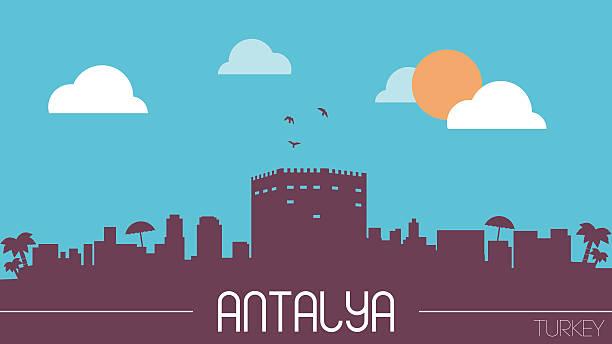 antalya, türkei skyline silhouette - alanya stock-grafiken, -clipart, -cartoons und -symbole