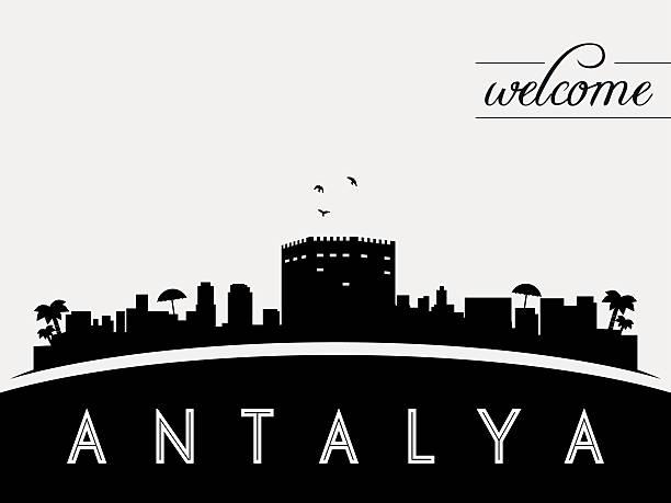 antalya, türkei skyline silhouette vektor-illustration - alanya stock-grafiken, -clipart, -cartoons und -symbole