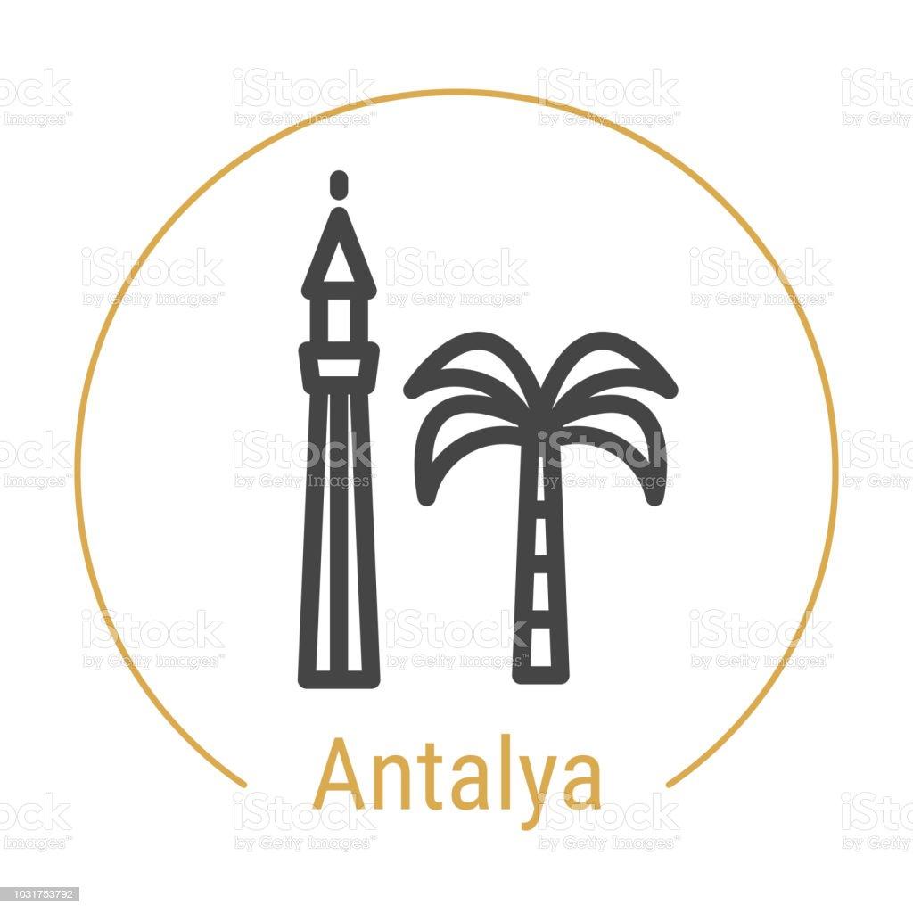 Antalya, Türkiye vektör satırı simgesi vektör sanat illüstrasyonu