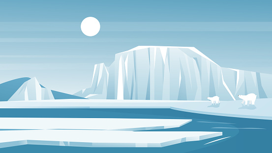 Antarctic landscape vector illustration. Cartoon frost nature scenery of North with iceberg snow mountain, arctic ice and snow hills