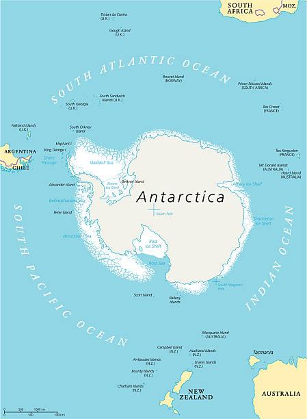 ilustraciones, imágenes clip art, dibujos animados e iconos de stock de antártida región mapa político  - mapa de antártida