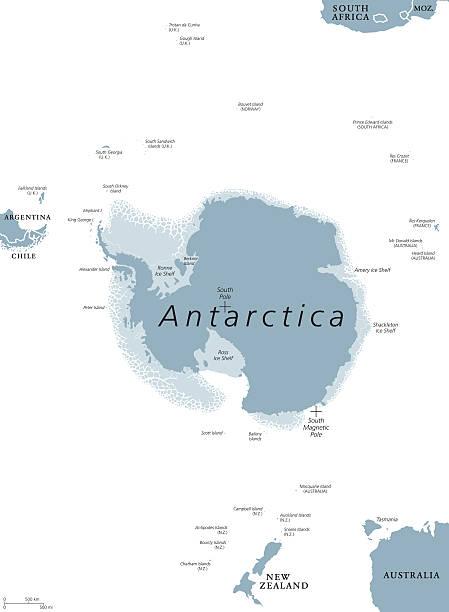 antarctic region political map - antarctica maps stock illustrations, clip art, cartoons, & icons
