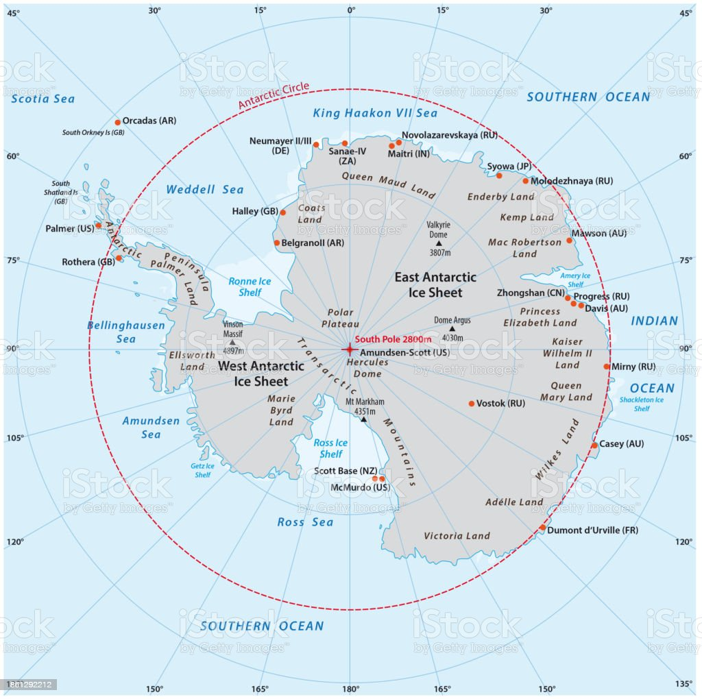 Antarctic Vector Map Stock Illustration - Download Image Now ...