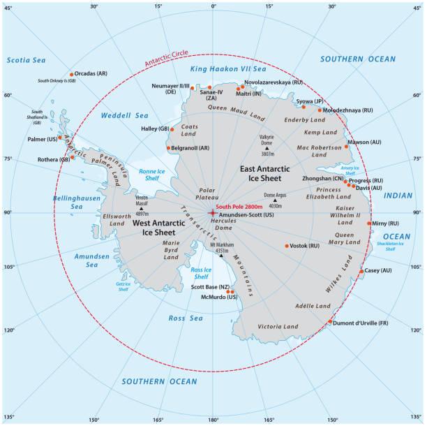ilustraciones, imágenes clip art, dibujos animados e iconos de stock de mapa del vector antártico - mapa de antártida