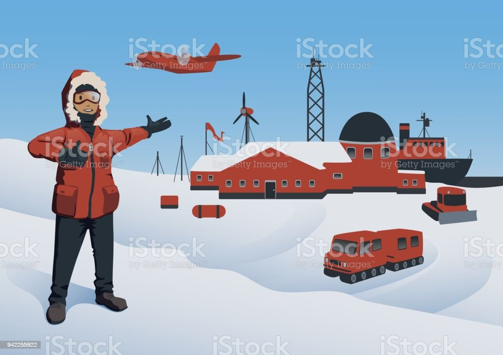 Antarctica and North Pole, vector illustration. Polar Explorer at the research station. Offshore oil production. Vector illustration. vector art illustration