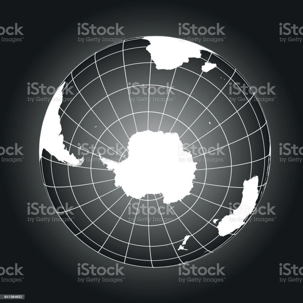白と黒の南極と南極の地図 ベクターアートイラスト