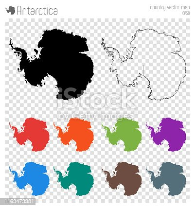 Antarctica high detailed map. Country silhouette icon. Isolated Antarctica black map outline. Vector illustration.