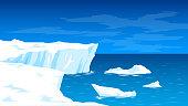 Antarctica, landscape with glaciers and the sea, icebergs, the North Pole