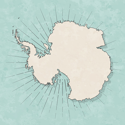 Antarctica map in retro vintage style - Old textured paper