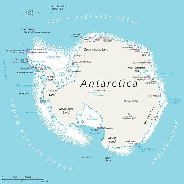 ilustraciones, imágenes clip art, dibujos animados e iconos de stock de antártida mapa político  - mapa de antártida