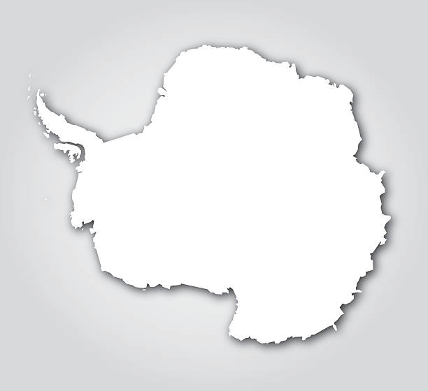 antarctica silhouette white - antarctica maps stock illustrations, clip art, cartoons, & icons