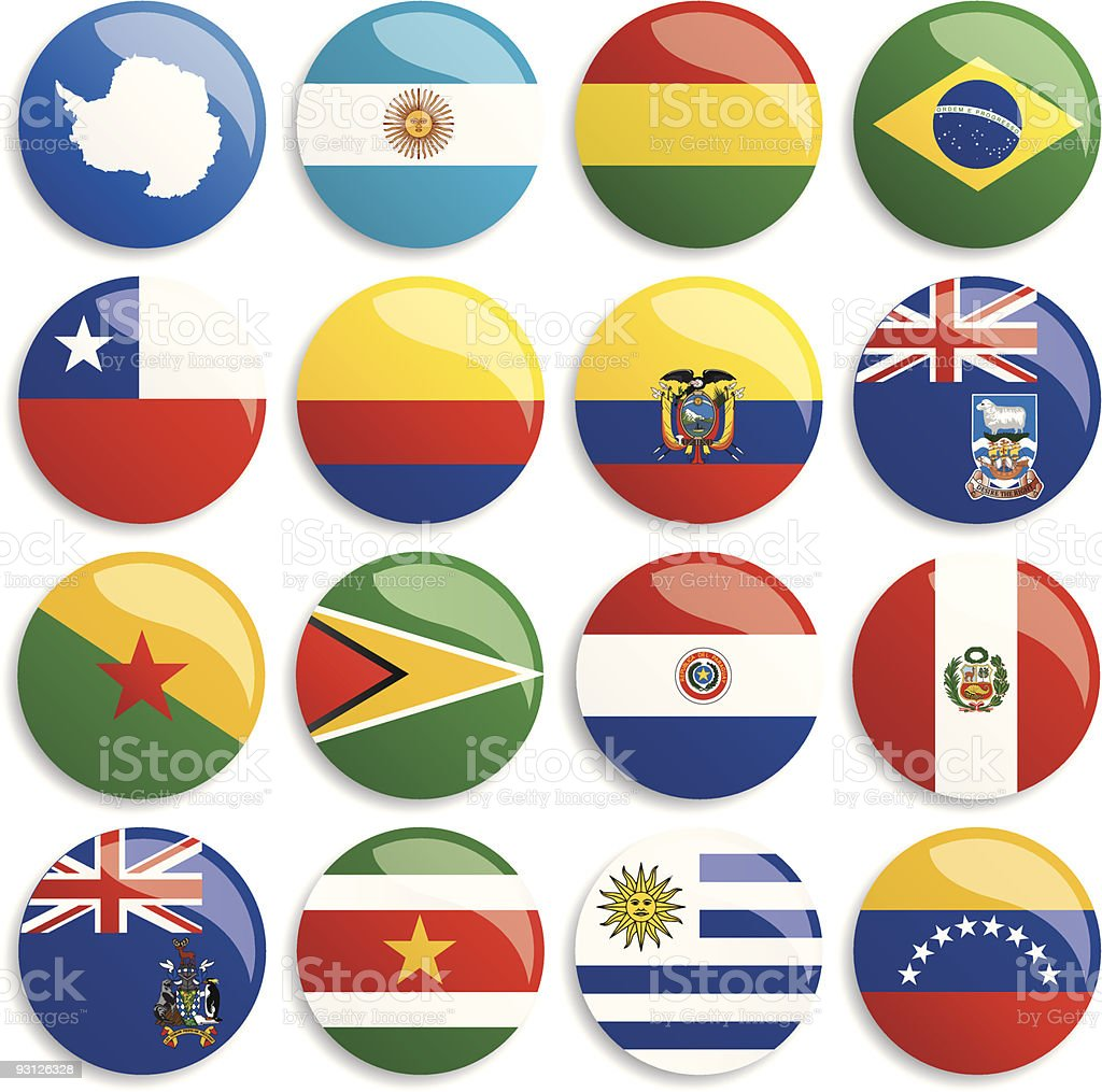 Antarctica & South America flags buttons vector art illustration