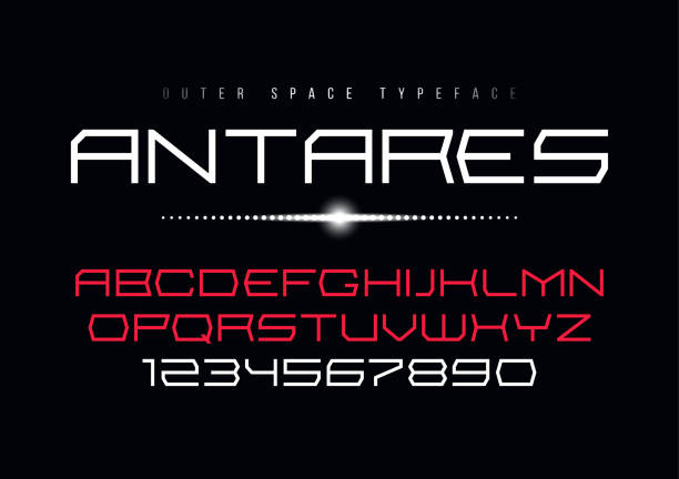 antares futuristic vector decorative font design, alphabet, type - космос и астрономия stock illustrations