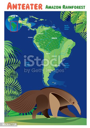 Vector Anteater and South America I have used  http://legacy.lib.utexas.edu/maps/world_maps/world_physical_2015.pdf address as the reference to draw the basic map outlines with Illustrator CS5 software, other themes were created by  myself.