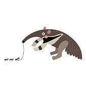 Anteater eating ants cartoon character.