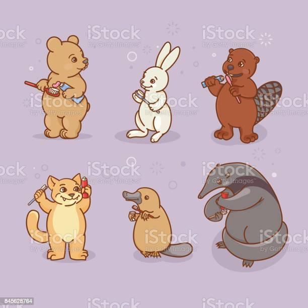 Anteater platypus hare beaver cat and bear are brushing their teeth vector id845628764?b=1&k=6&m=845628764&s=612x612&h=yhbqc92cs8 tmen74ykgay hmyizpn8d3ubduicp9eg=