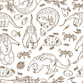 Anteaters (Tamandua) Seamless pattern. Hand Drawn Doodles Anteaters, Ants, Fruits