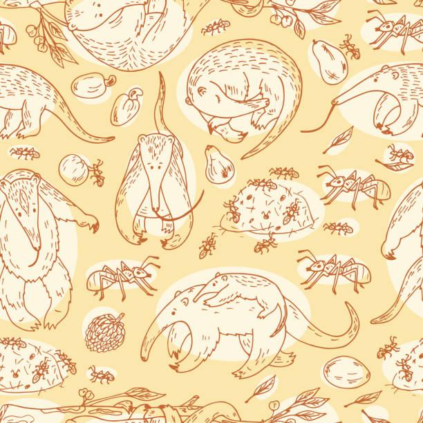anteaters (antilles) nahtlose muster. hand gezeichnet kritzeleien anteaters, ameisen, obst - ameisenbär stock-grafiken, -clipart, -cartoons und -symbole