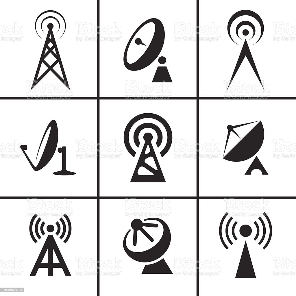 Antenna and satellite dish icons set vector art illustration