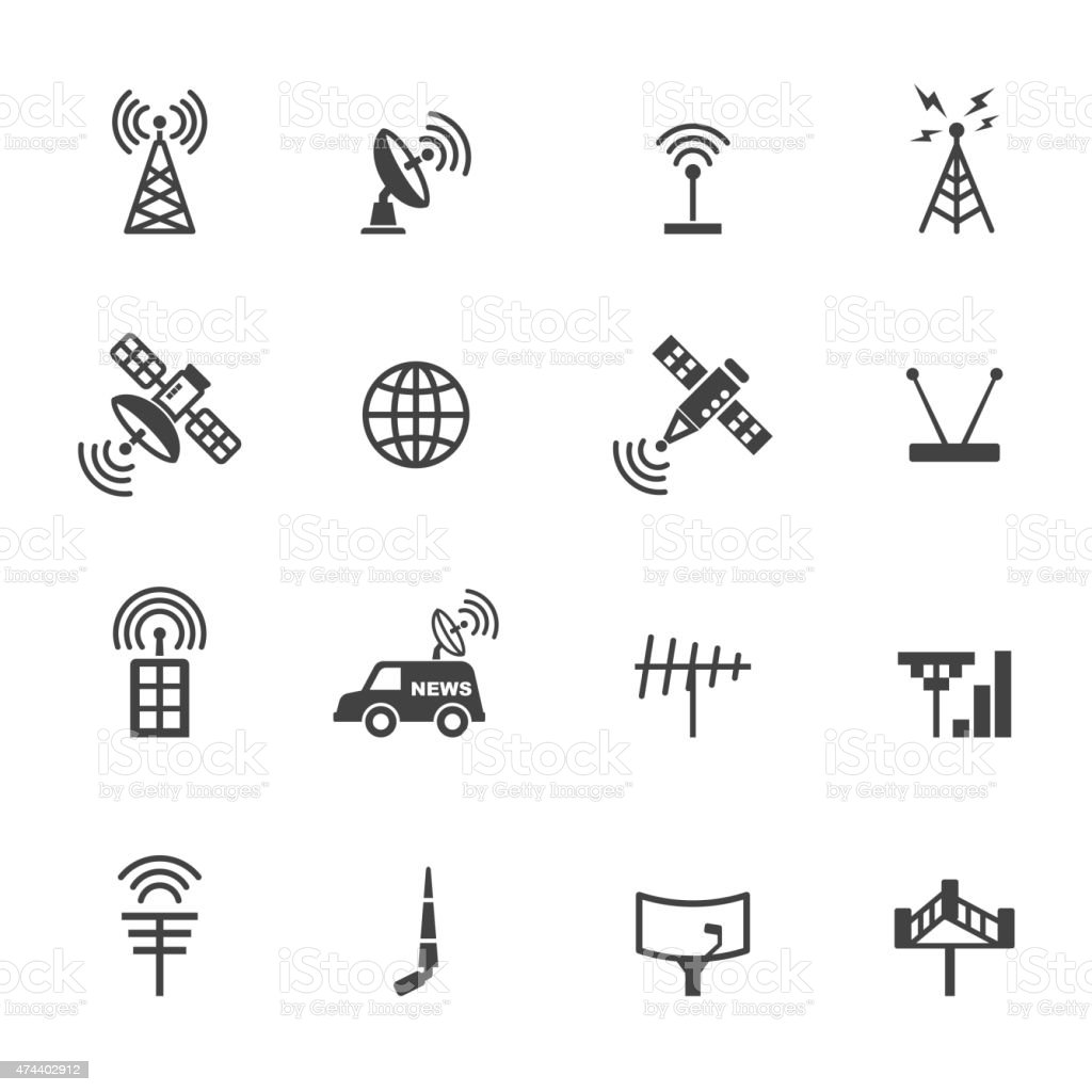 antenna and satellite icons vector art illustration