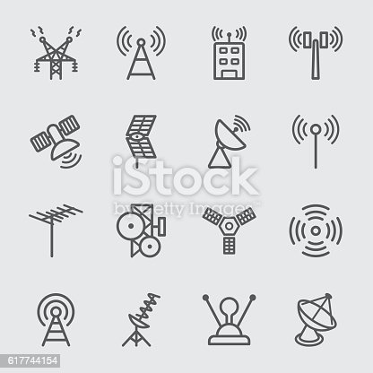 istock Antenna and Satellite line icon 617744154