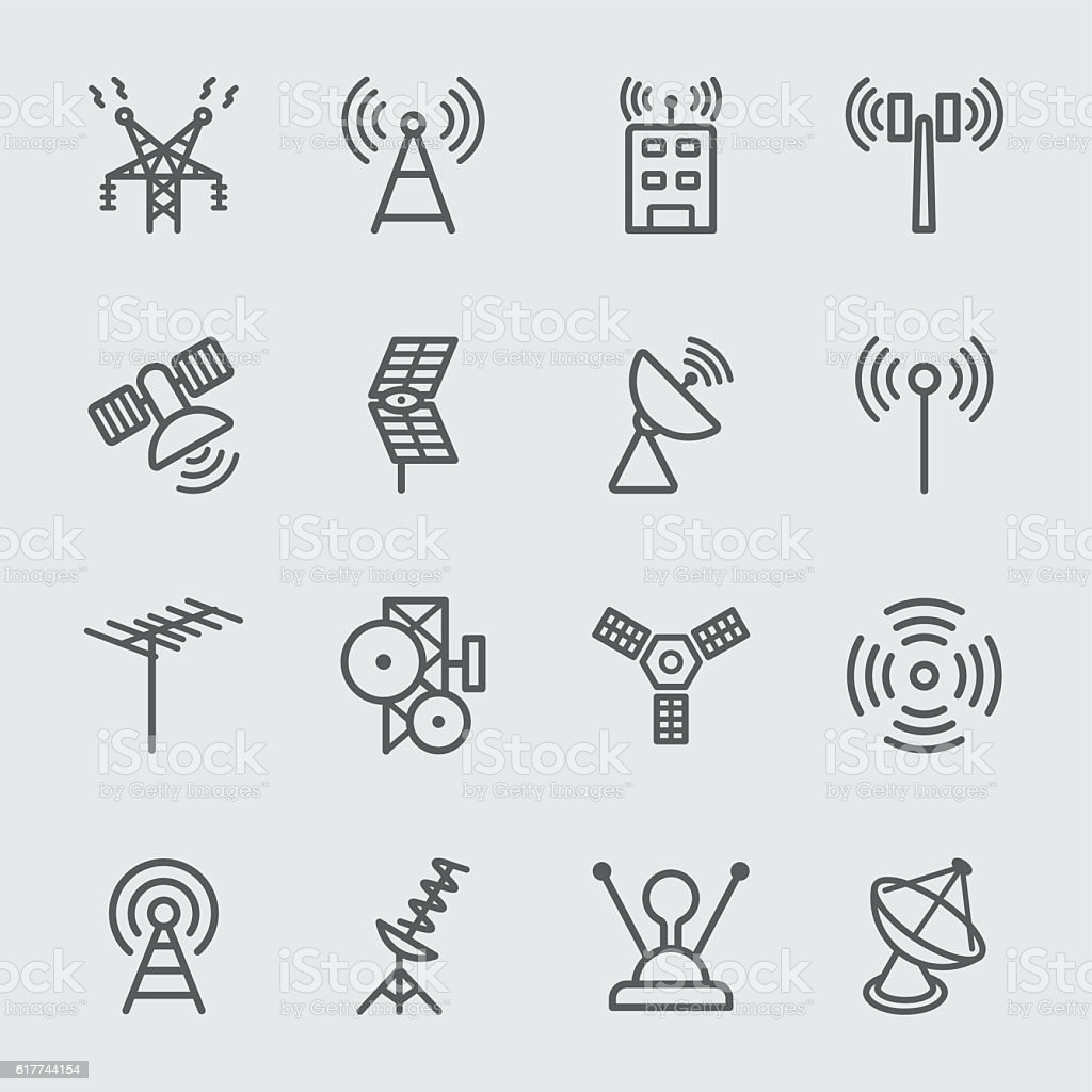 Antenna and Satellite line icon vector art illustration