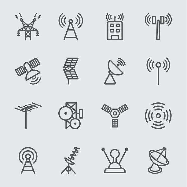 Antenna and Satellite line icon Antenna and Satellite line icon telecommunications equipment stock illustrations