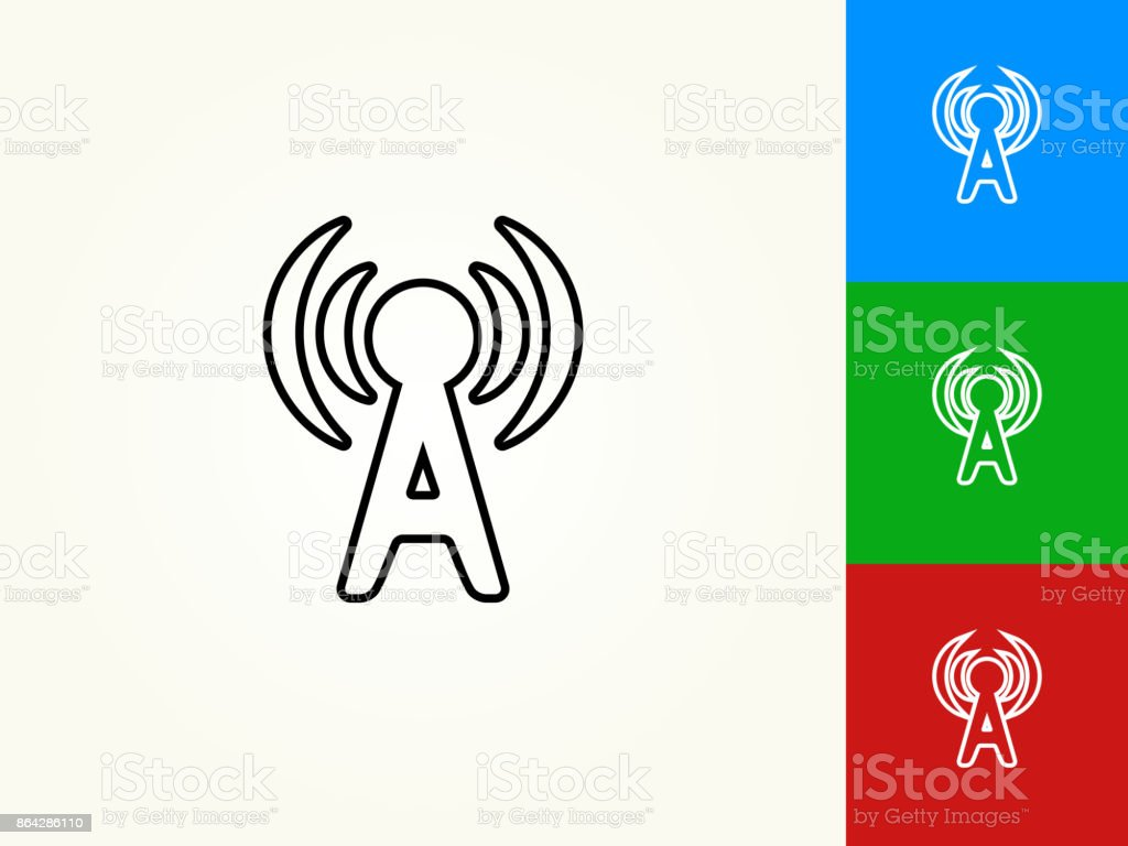 Antenna Black Stroke Linear Icon royalty-free antenna black stroke linear icon stock vector art & more images of black color