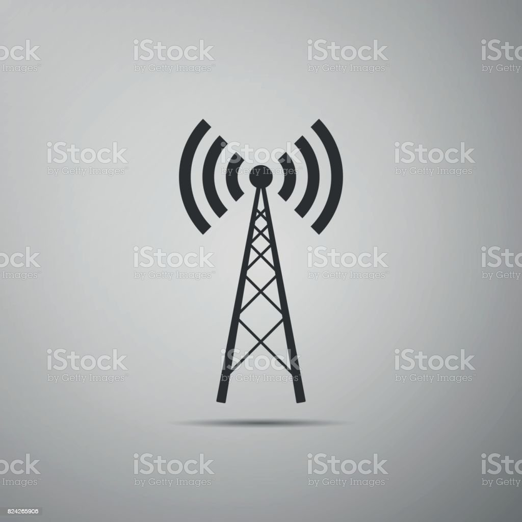 Antenna flat icon on grey background. Vector Illustration vector art illustration