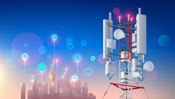 Antenna for wireless network. Telecommunication cellular station. Broadcasting tower. Mast Lte aerial. Tech background vector art illustration