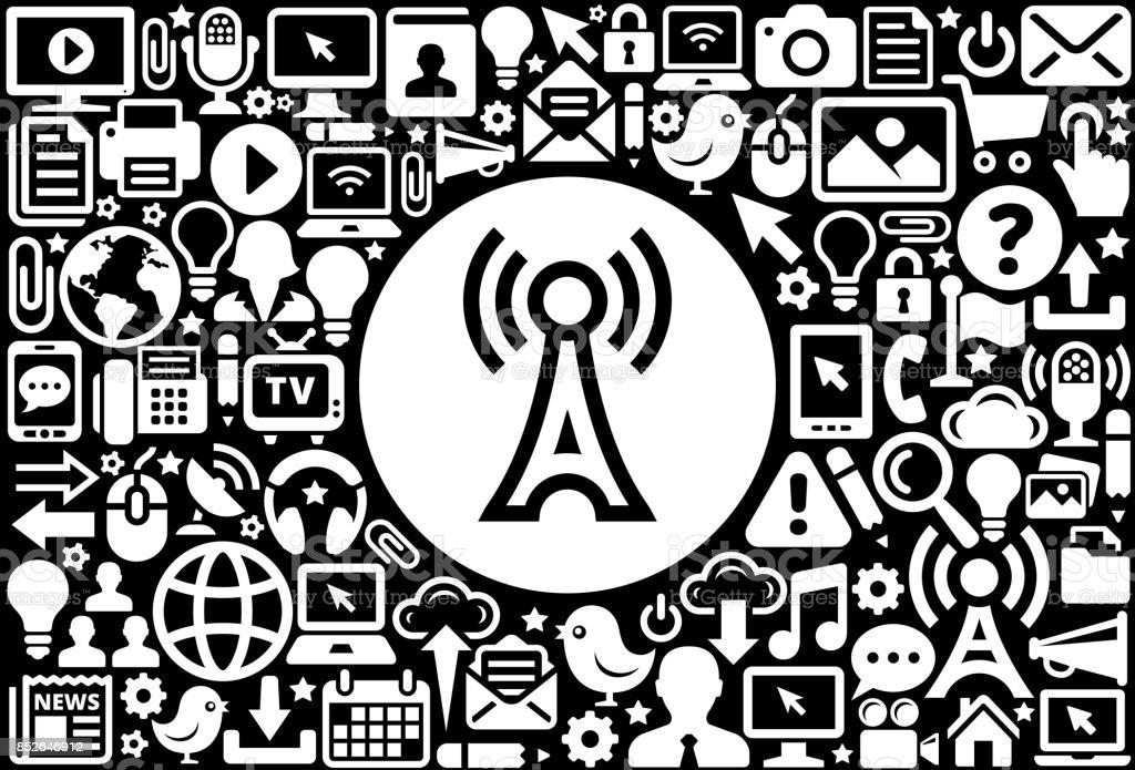 Antennesymbol Schwarz Weiß Internet Technologie Hintergrund Stock ...