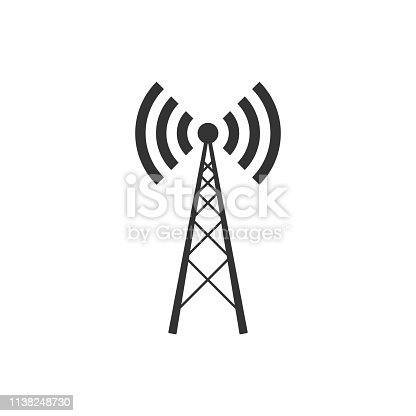 Antenna icon isolated. Radio antenna wireless. Technology and network signal radio antenna. Flat design. Vector Illustration