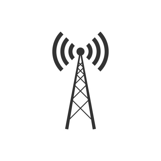 Antenna icon isolated. Radio antenna wireless. Technology and network signal radio antenna. Flat design. Vector Illustration Antenna icon isolated. Radio antenna wireless. Technology and network signal radio antenna. Flat design. Vector Illustration broadcasting stock illustrations