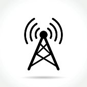 Illustration of antenna icon on white background