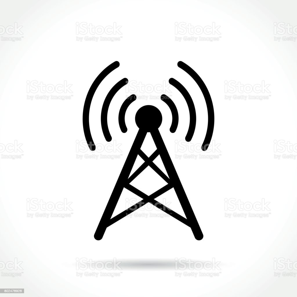 antenna icon on white background vector art illustration