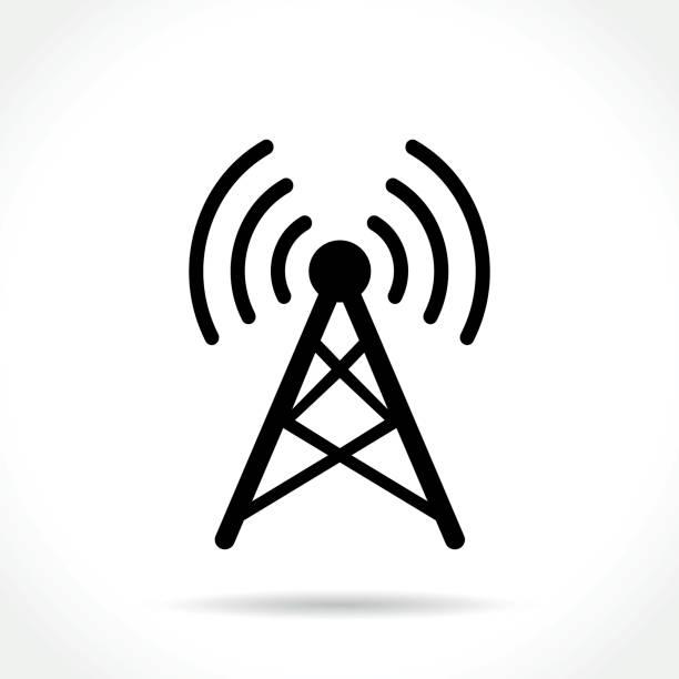 antenna icon on white background Illustration of antenna icon on white background repeater tower stock illustrations