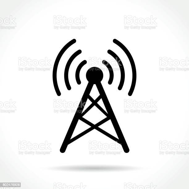 Illustration of antenna icon on white background