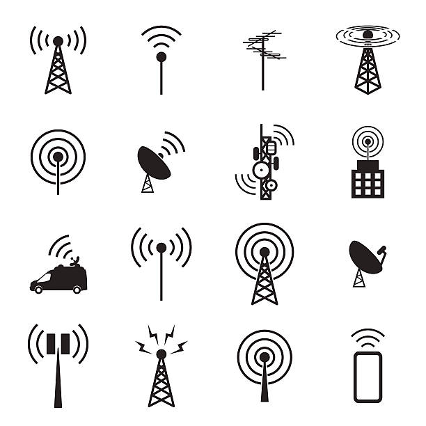 Antenna icon set Antenna icon set telecommunications equipment stock illustrations