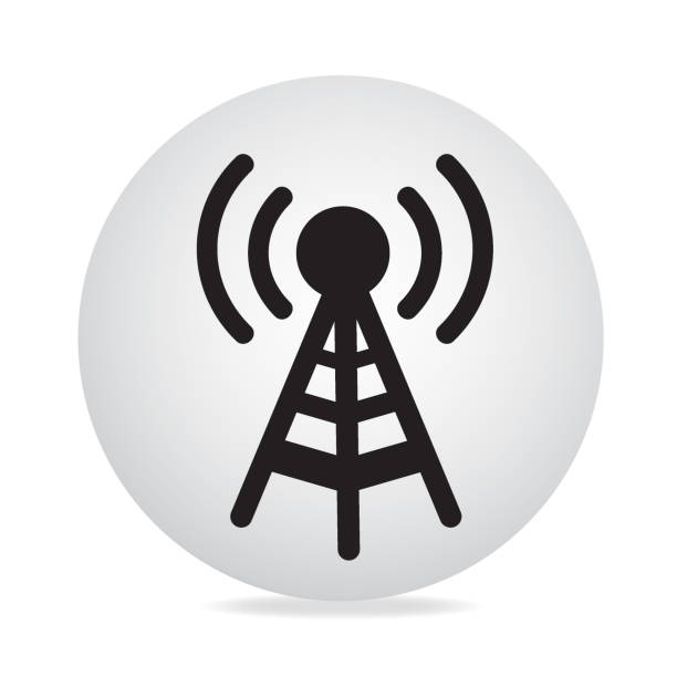 Antenna Icon Antenna icon on white background repeater tower stock illustrations