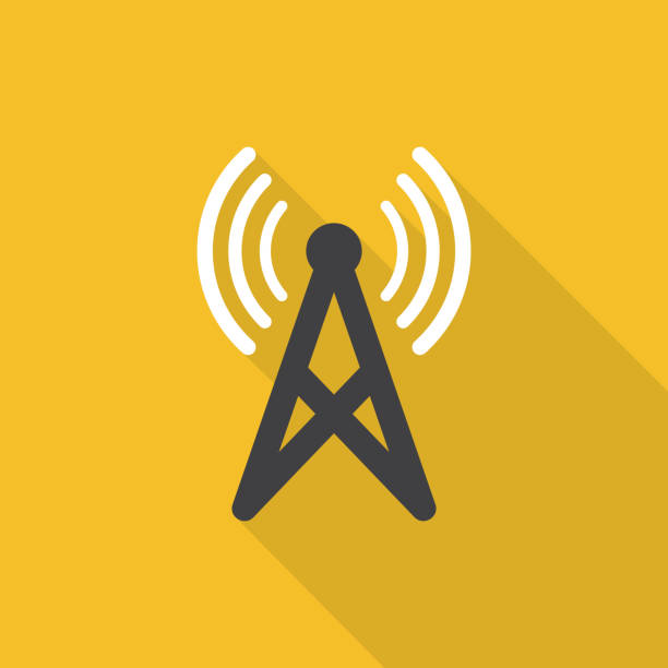 Antenna icon with long shadow on yellow background, flat design style Antenna icon with long shadow on yellow background, flat design style repeater tower stock illustrations