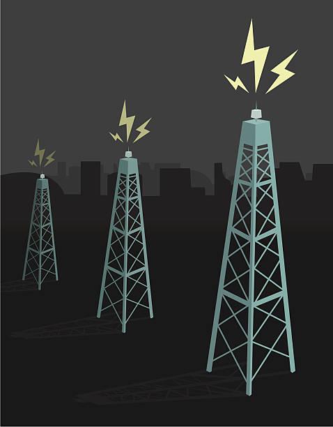 Antennas transmitting / Night boadcasting  repeater tower stock illustrations