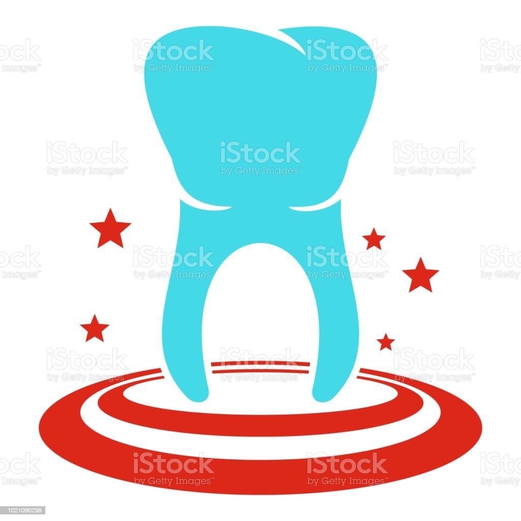 前歯のアイコンフラット スタイル イラストレーションのベクターアート