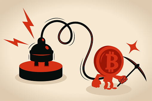 Anthropomorphic bitcoin man with an electrical plug is holding a pickaxe, concept about bitcoin cryptocurrency and energy consumption (energy-intensive)