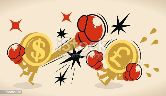 istock Anthropomorphic dollar and pound sign coin (US  currency vs British currency) are fighting against each other by boxing; British pound currency crisis 1268364255
